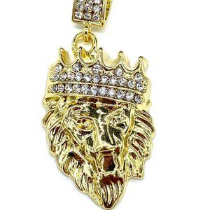 18k Gold Plated Iced King Lion Pendant